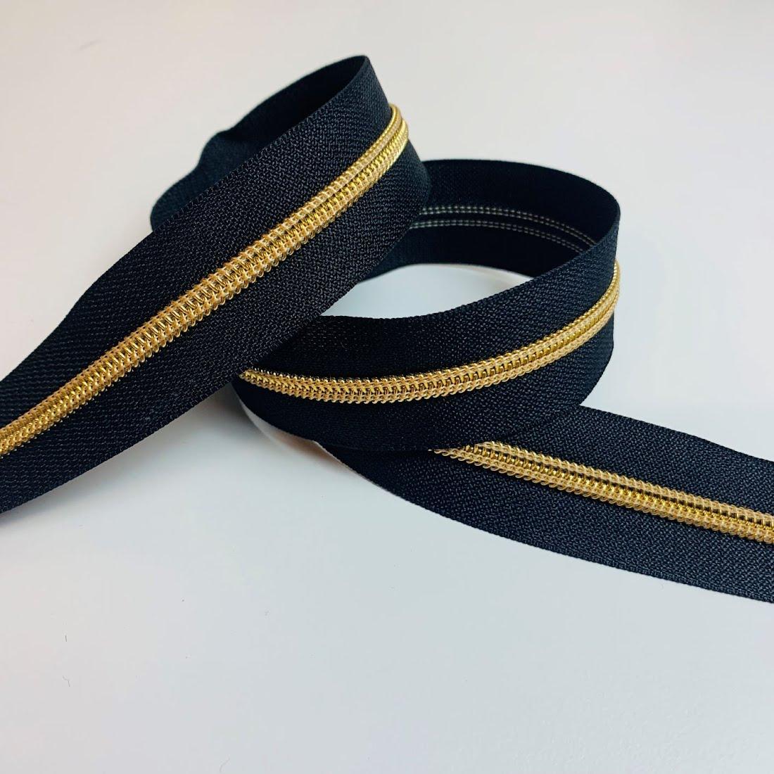 Metallisierter Reissverschluss - Meras 6mm Reissverschluss / Schwarz - Gold