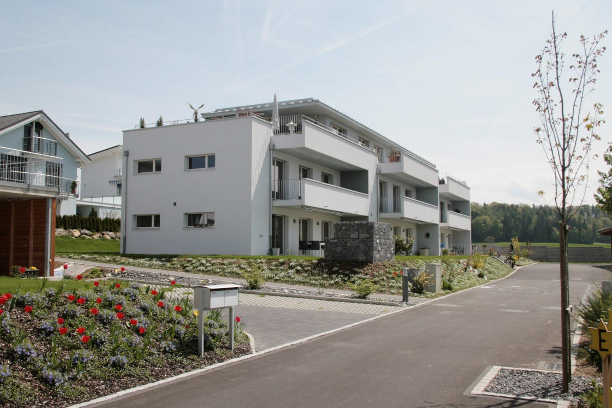 Wohnen MFH,Wohnen EFH Familiensiedlung im Chäppeliacher Architektur,Wohnungsbau,Wohnhäuser,Einfamilienhäuser,Mehrfamilienhäuser
