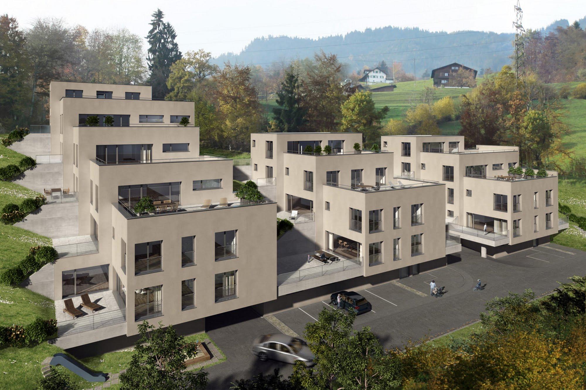 Wohnen MFH 3 Terrassenhäuser in Sarnen Architektur,Wohnungsbau,Wohnhäuser,Einfamilienhäuser,Mehrfamilienhäuser